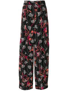 брюки палаццо с цветочным узором Valentino