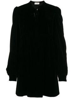 короткое платье из бархата с завязками на шее Saint Laurent