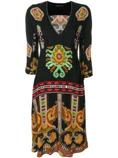 платье с V-образным вырезом и узором  Etro