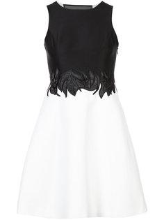 декорированное двухцветное платье Halston Heritage