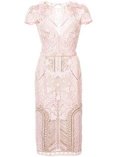 кружевное платье с вышивкой и пайетками Marchesa Notte