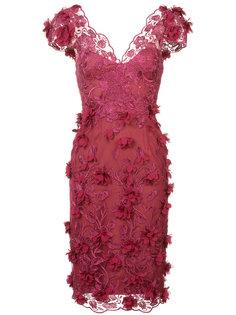 платье с вышивкой и аппликацией Marchesa Notte