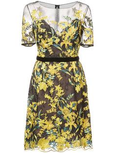 прозрачное платье с цветочной вышивкой Marchesa Notte
