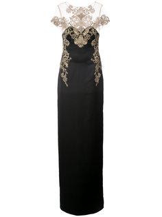 вечернее платье с кружевное отделкой Marchesa Notte