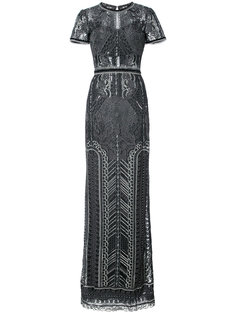 прозрачное вечернее платье с вышивкой и пайетками Marchesa Notte