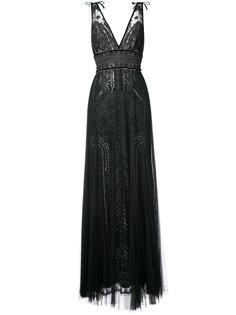 вечернее платье с глубоким V-образным вырезом Marchesa Notte