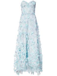 вечернее платье с вышивкой и цветочной аппликацией Marchesa Notte
