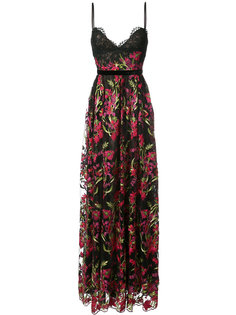 длинное вечернее платье с цветочной вышивкой Marchesa Notte