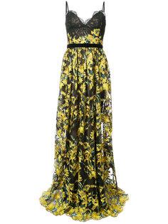 кружевное вечернее платье с цветочной вышивкой Marchesa Notte