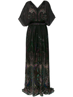 длинное платье с узором пейсли Roberto Cavalli