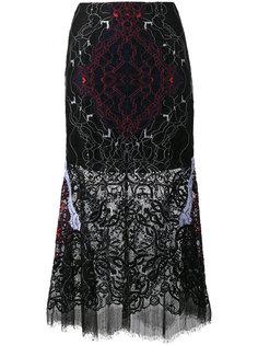 кружевная прозрачная юбка с вышивкой Jonathan Simkhai