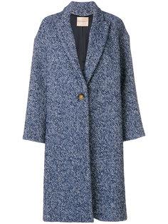 фактурное однобортное пальто Erika Cavallini