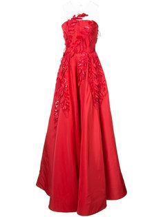 больное платье с аппликацией Oscar de la Renta