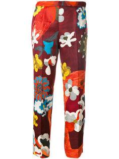 укороченные брюки с цветочным принтом  Prada