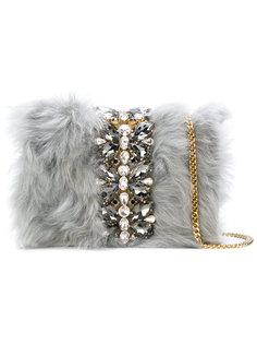 сумка через плечо с меховой отделкой и кристаллами Emanuela Caruso