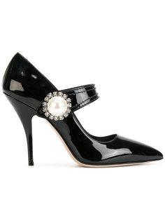 туфли с жемчужной пряжкой Miu Miu