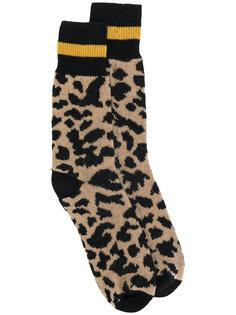 носки с леопардовым принтом  Palm Angels