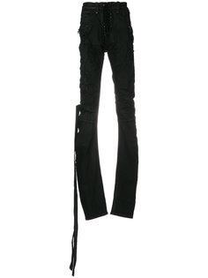 брюки со шнуровкой и потертой отделкой Unravel Project