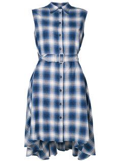 асимметричное платье-рубашка в клетку Mm6 Maison Margiela