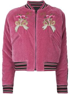 куртка-бомбер с цветочной вышивкой  As65
