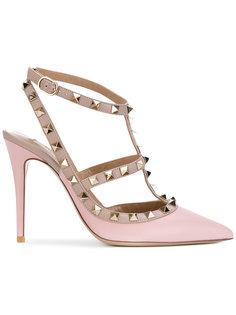 туфли-лодочки с решеком на щиколотке и заклепками Rockstud Valentino