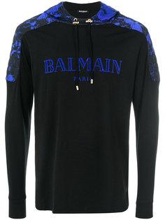 толстовка с капюшоном с принтом логотипа Balmain