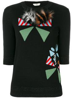 пуловер с круглым вырезом и аппликацией  Fendi