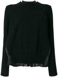свитер с плиссированной вставкой сзади  Sacai