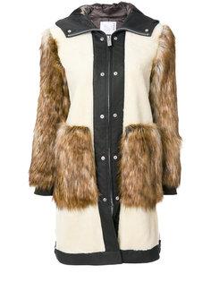 пальто со вставкой из искусственного меха  Sacai