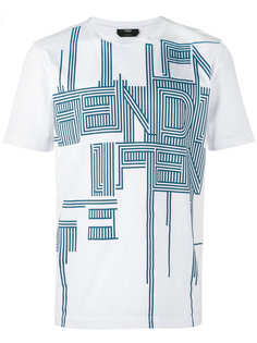 футболка с принтом с логотипом с полосками Fendi