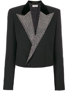укороченный пиджак с декорированными лацканами Saint Laurent