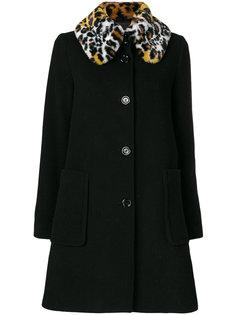 пальто с воротником из искусственного меха Love Moschino