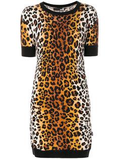 вязаное платье с леопардовым принтом Love Moschino