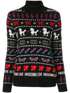 свитер с полосками и пуделями Love Moschino