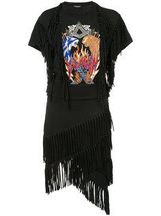 декорированное платье с бахромой Balmain