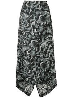 асимметричная юбка с абстрактным узором Yohji Yamamoto Vintage