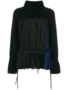 свитер в поясом и отделкой плиссе  Sacai