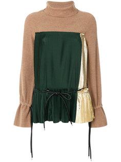свитер с плиссированной вставкой Sacai