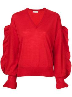 свитер с V-образным вырезом и рукавами с оборками Laneus