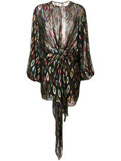 прозрачное платье с вышивкой с металлическим отблеском Saint Laurent