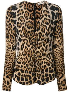 блузка со сборкой и леопардовым принтом Saint Laurent