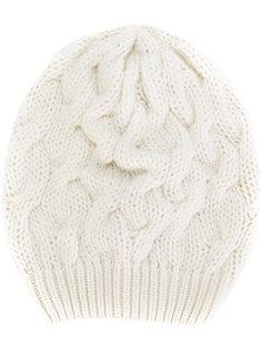 шапка-бини крупной вязки с косами Cruciani