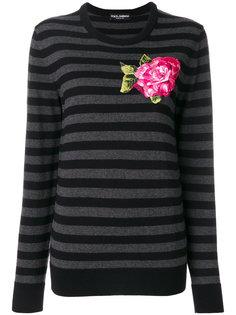 свитер с вышитым цветком Dolce & Gabbana