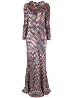 платье с шевронным узором пайетками  Ashish