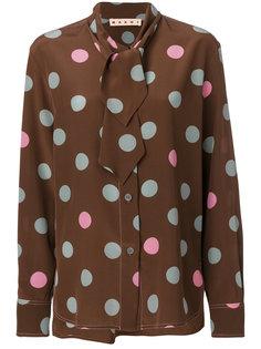 блузка в горох с воротником с завязкой Marni