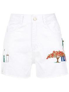 embroidered twill shorts Martha Medeiros