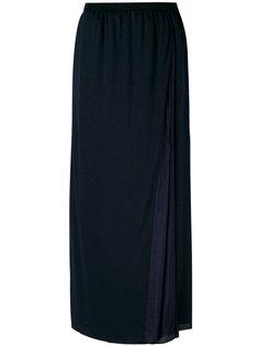 длинная асимметричная юбка с плиссированной деталью Sacai