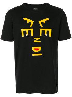 футболка с аппликацией в виде лица Fendi