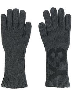 перчатки с принтом логотипа Y-3