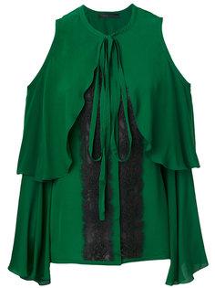 блузка с вырезами на плечах и кружевными вставками Elie Saab